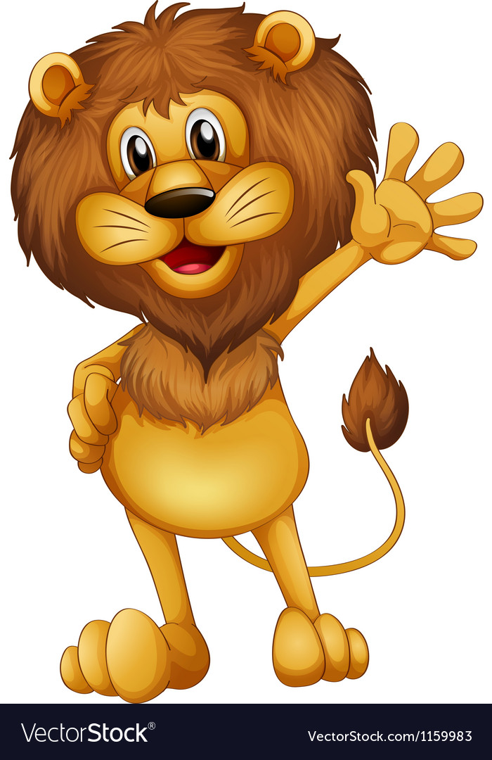 A lion waving vector | Price: 1 Credit (USD $1)