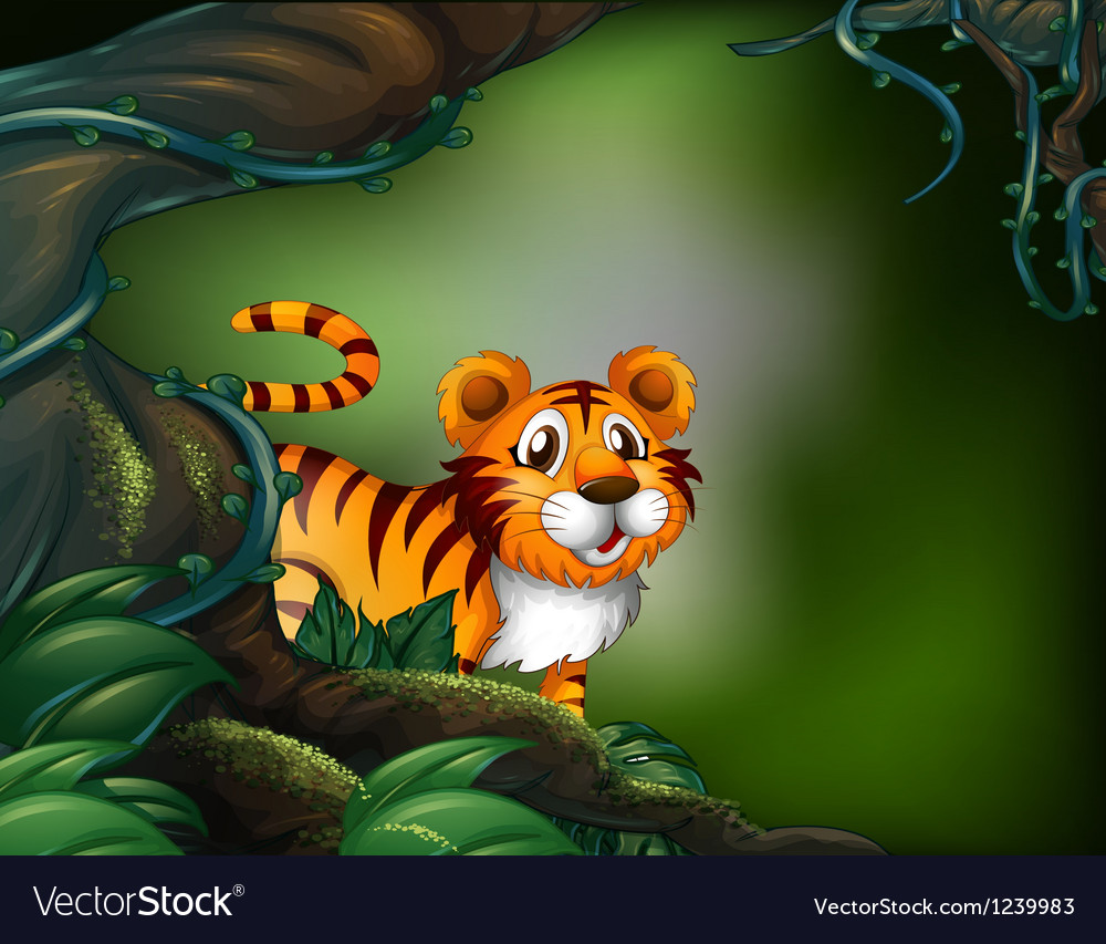 A rainforest with a tiger vector | Price: 1 Credit (USD $1)