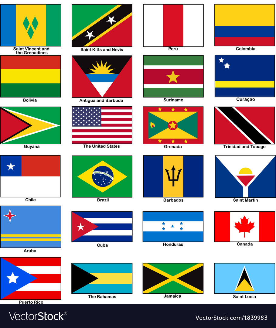 America continent flags set vector | Price: 1 Credit (USD $1)