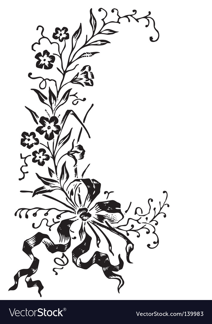Antique flowers border engraving vector | Price: 1 Credit (USD $1)
