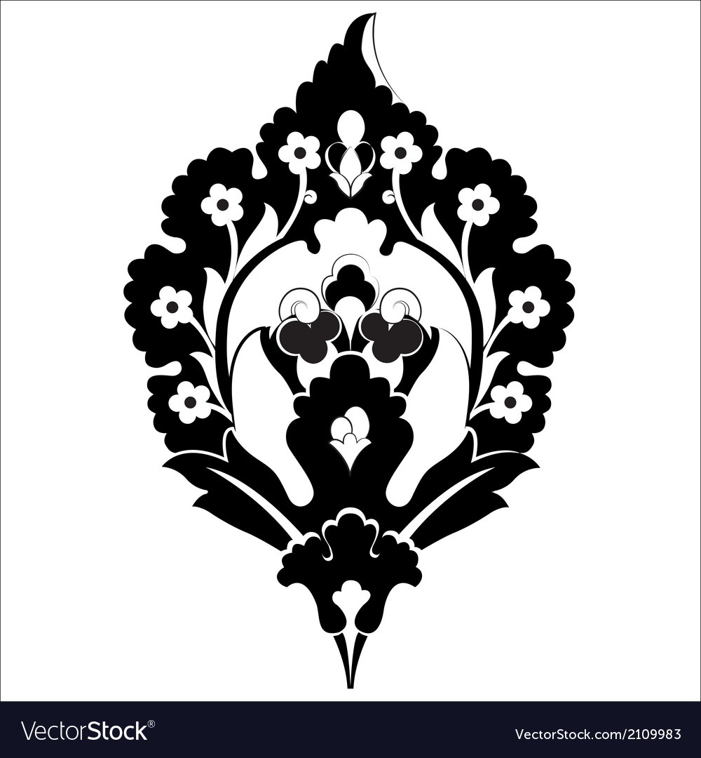 Black oriental ottoman design forty six vector | Price: 1 Credit (USD $1)