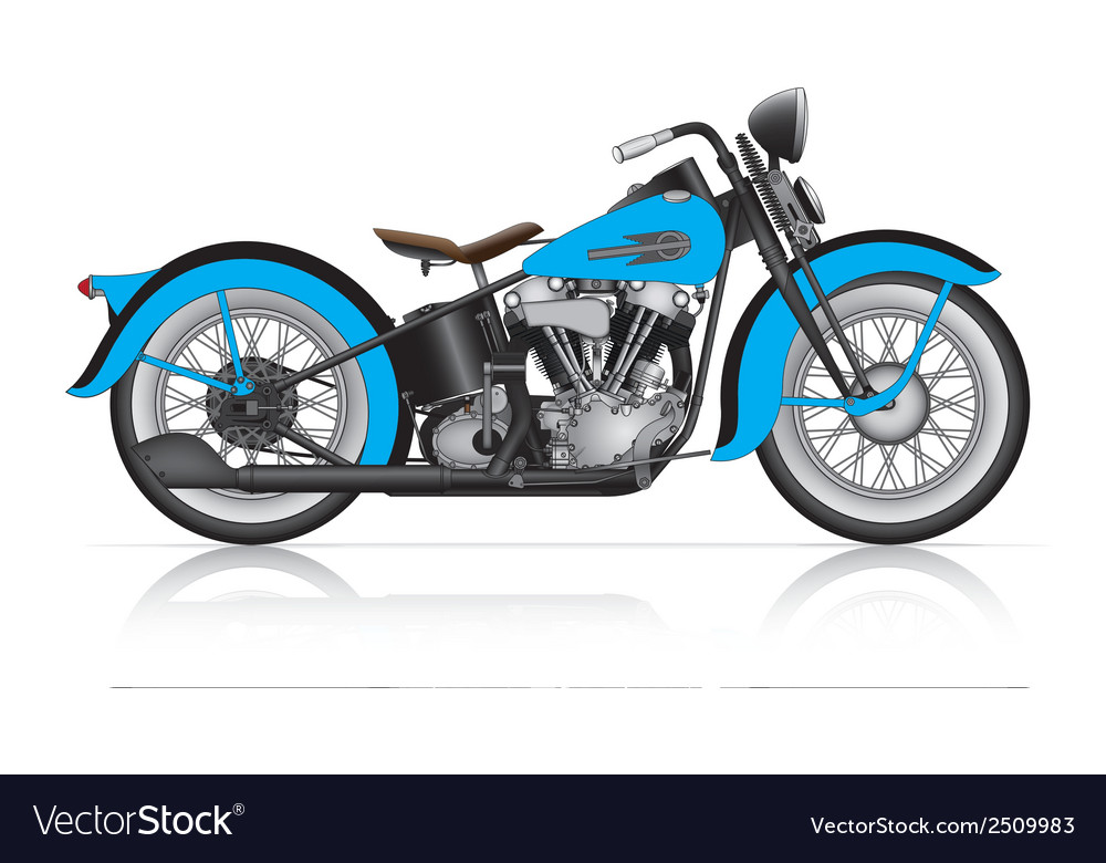 Blue classic motorcycle vector | Price: 1 Credit (USD $1)