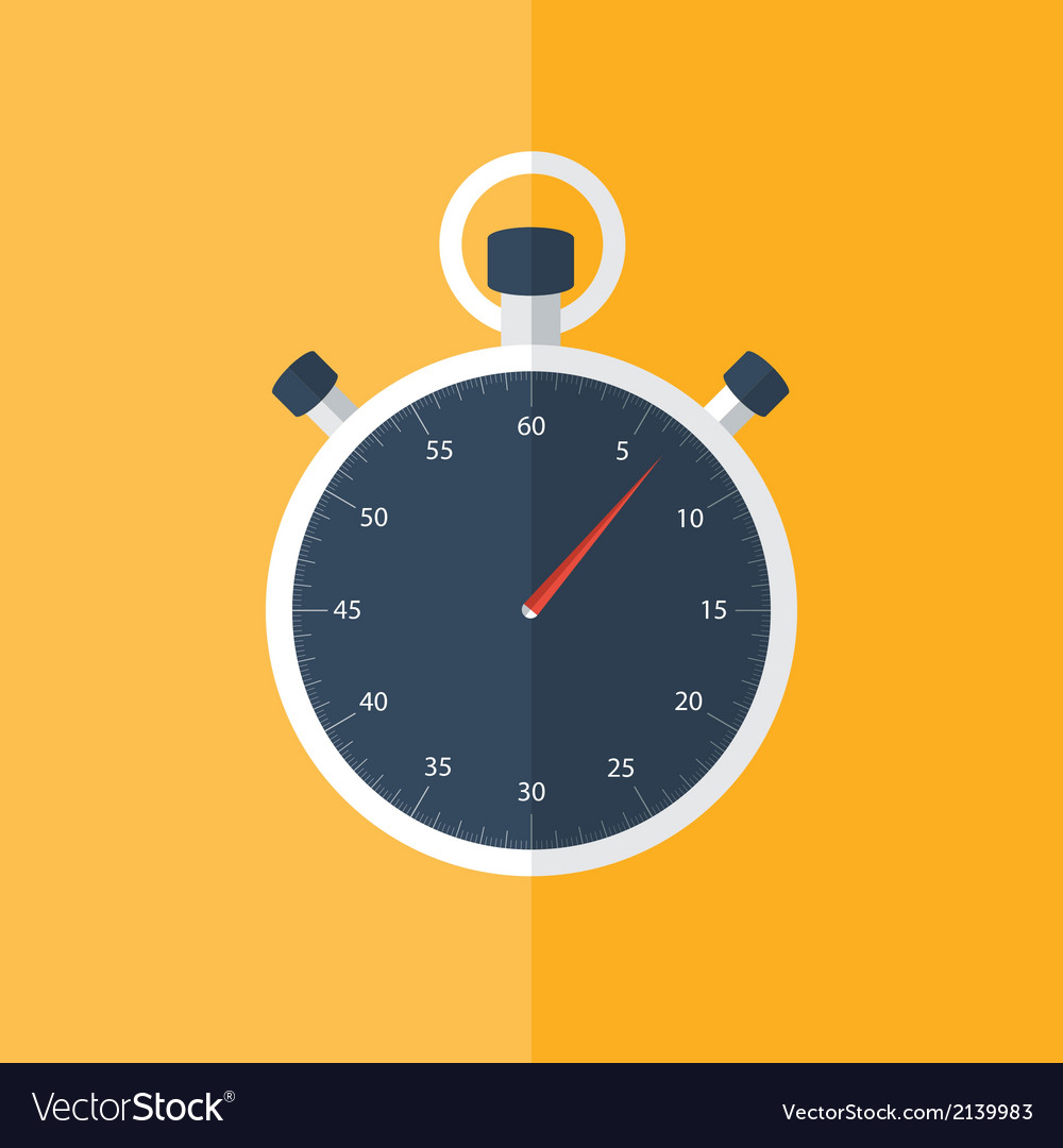 Blue stopwatch icon over orange vector | Price: 1 Credit (USD $1)
