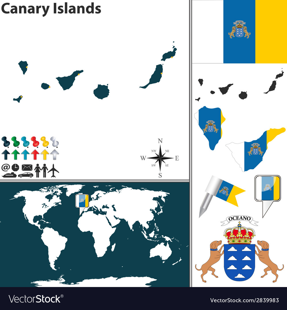 Canary islands map vector   Price: 1 Credit (USD $1)