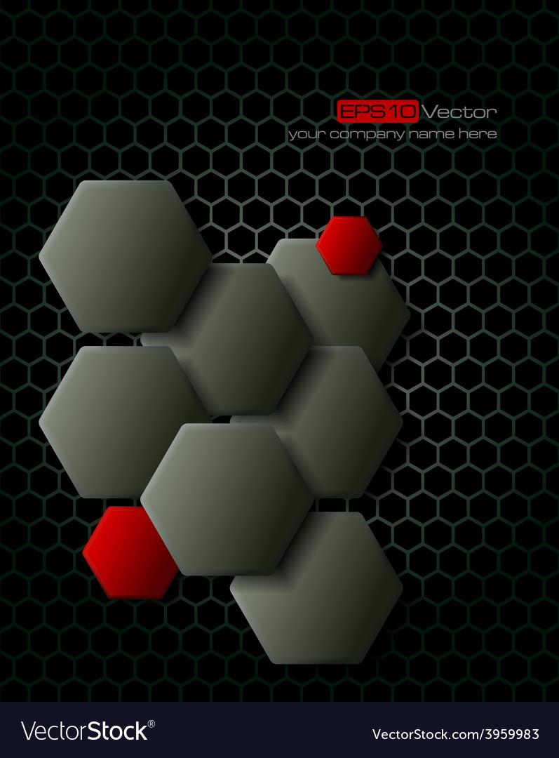 Dark gray hexagons technology background vector | Price: 1 Credit (USD $1)