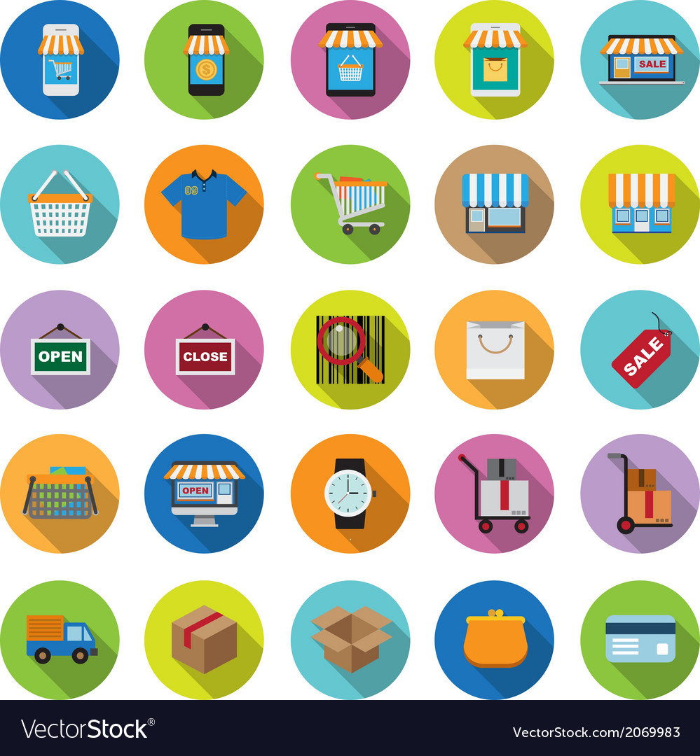 Flat icons collection with long shadow vector | Price: 1 Credit (USD $1)