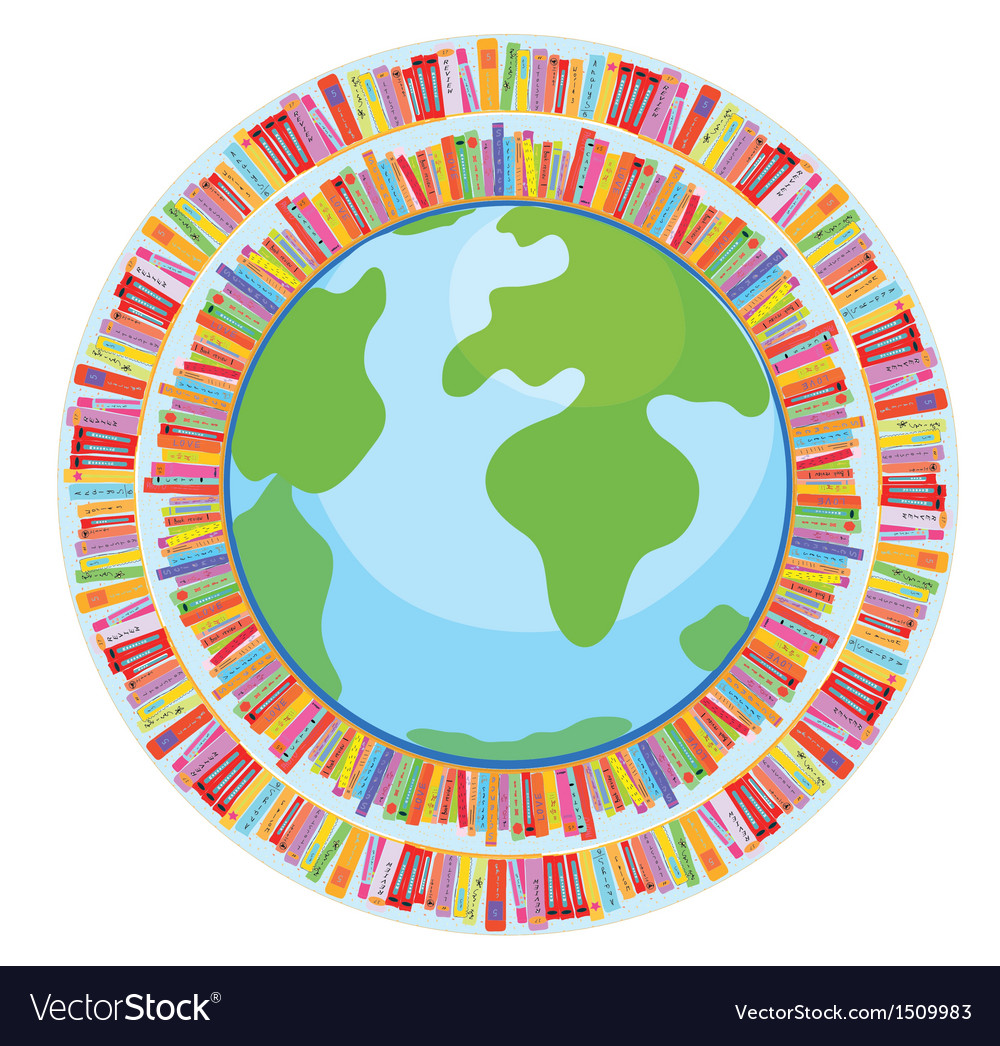 Globe and book education concept vector | Price: 1 Credit (USD $1)