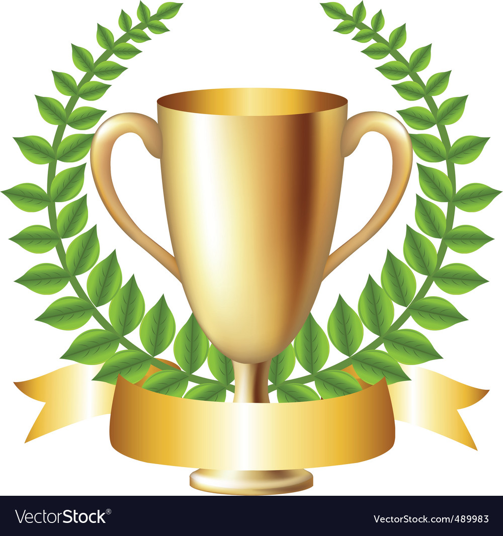 Gold cup with laurel wreath vector | Price: 1 Credit (USD $1)