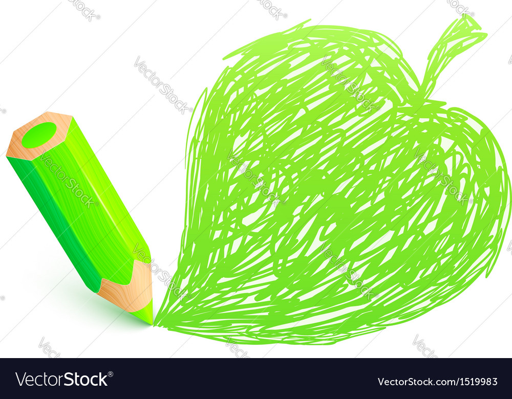Green cartoon pencil with doodle leaf vector | Price: 1 Credit (USD $1)