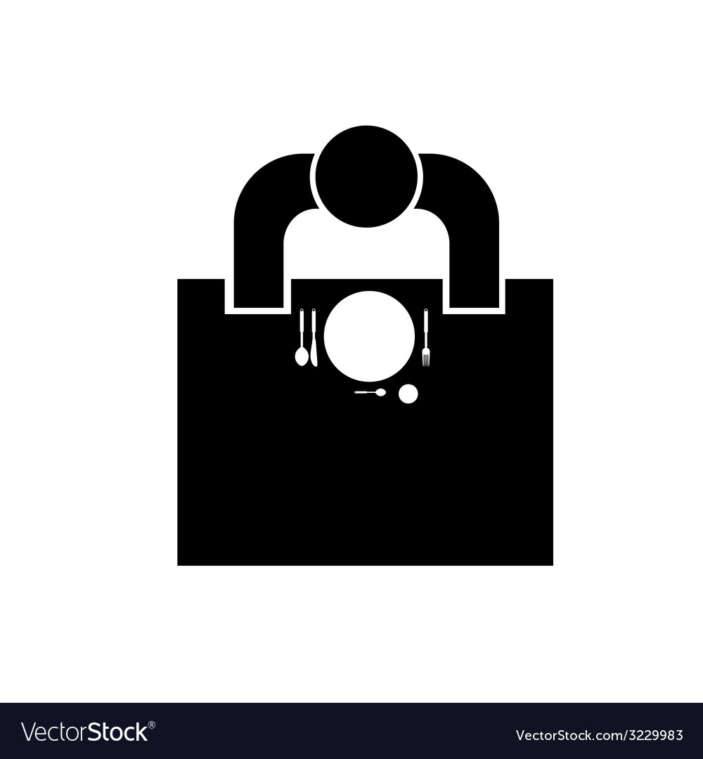 Man sitting at the table in resaurant icon vector | Price: 1 Credit (USD $1)