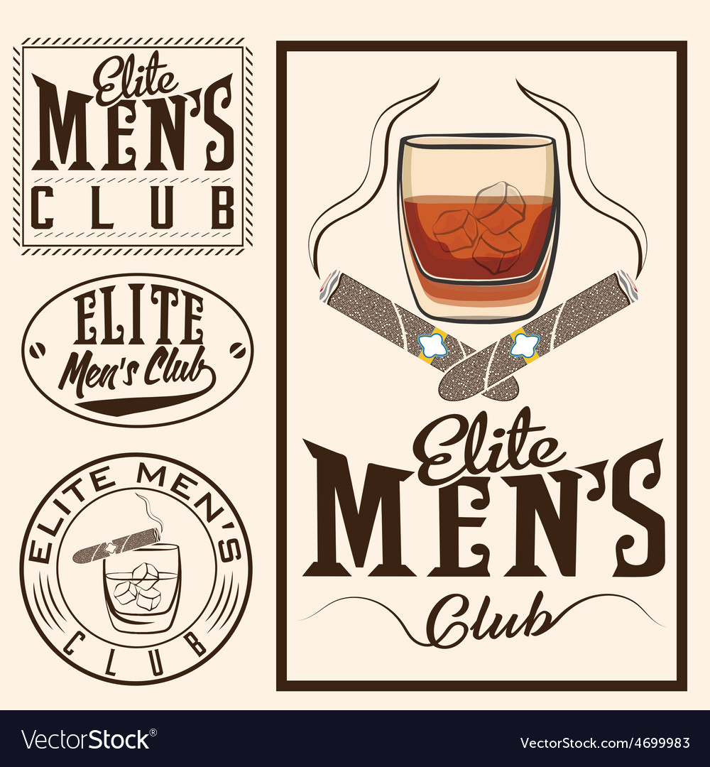 Mens club vintage labels with cigars and whiskey vector | Price: 1 Credit (USD $1)