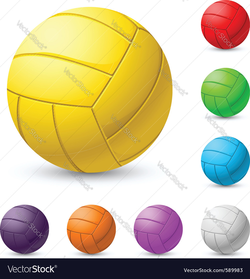 Multicolored volleyball realiste on white vector | Price: 1 Credit (USD $1)