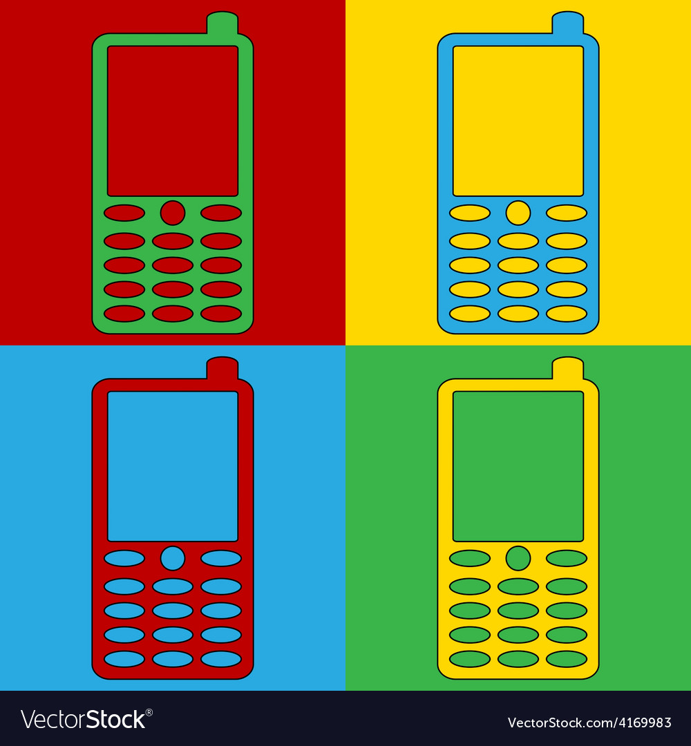 Pop art phone icons vector | Price: 1 Credit (USD $1)