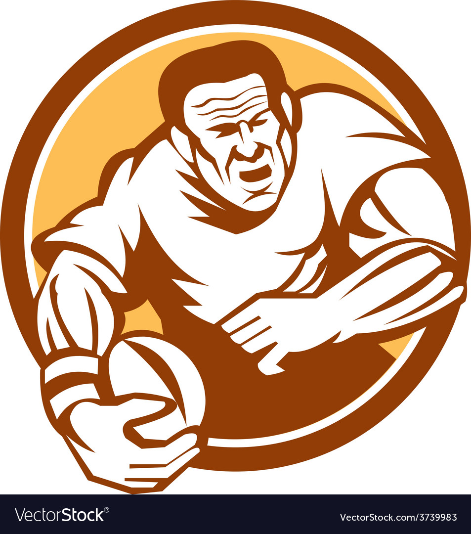 Rugby player running ball circle linocut vector | Price: 1 Credit (USD $1)