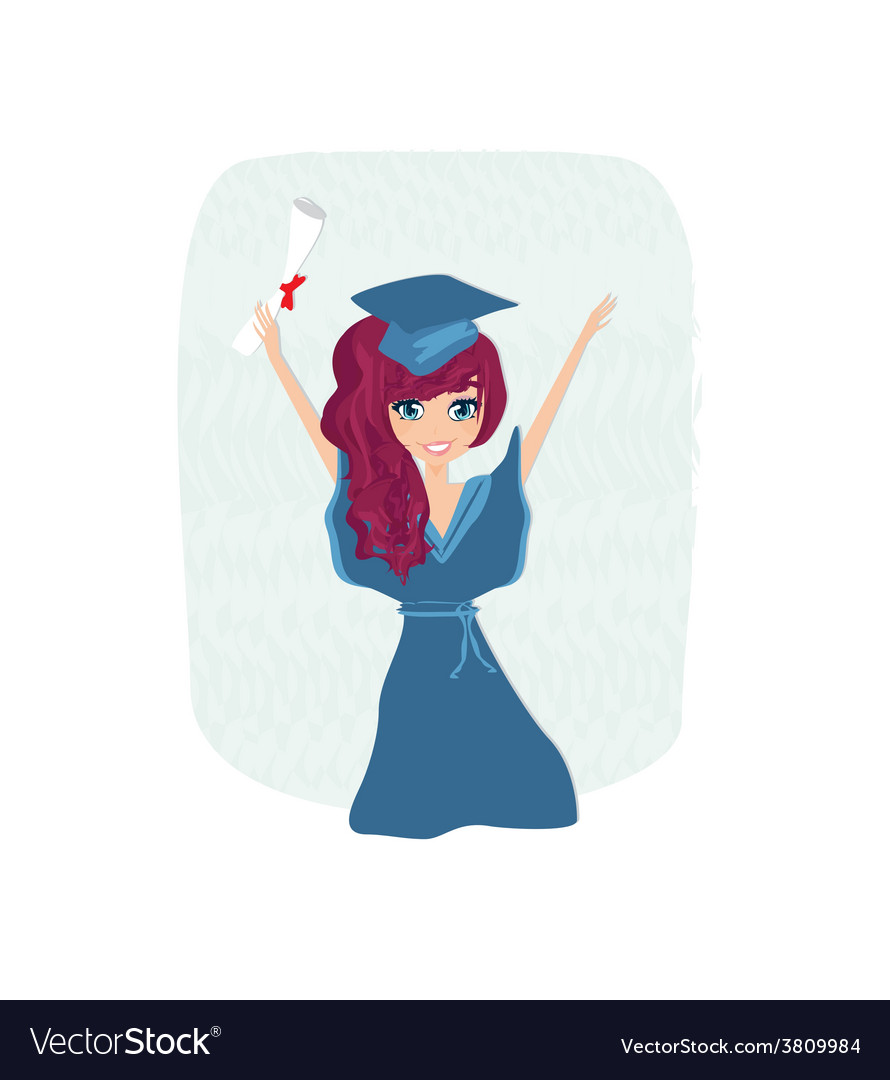 A kid holding her diploma vector   Price: 1 Credit (USD $1)