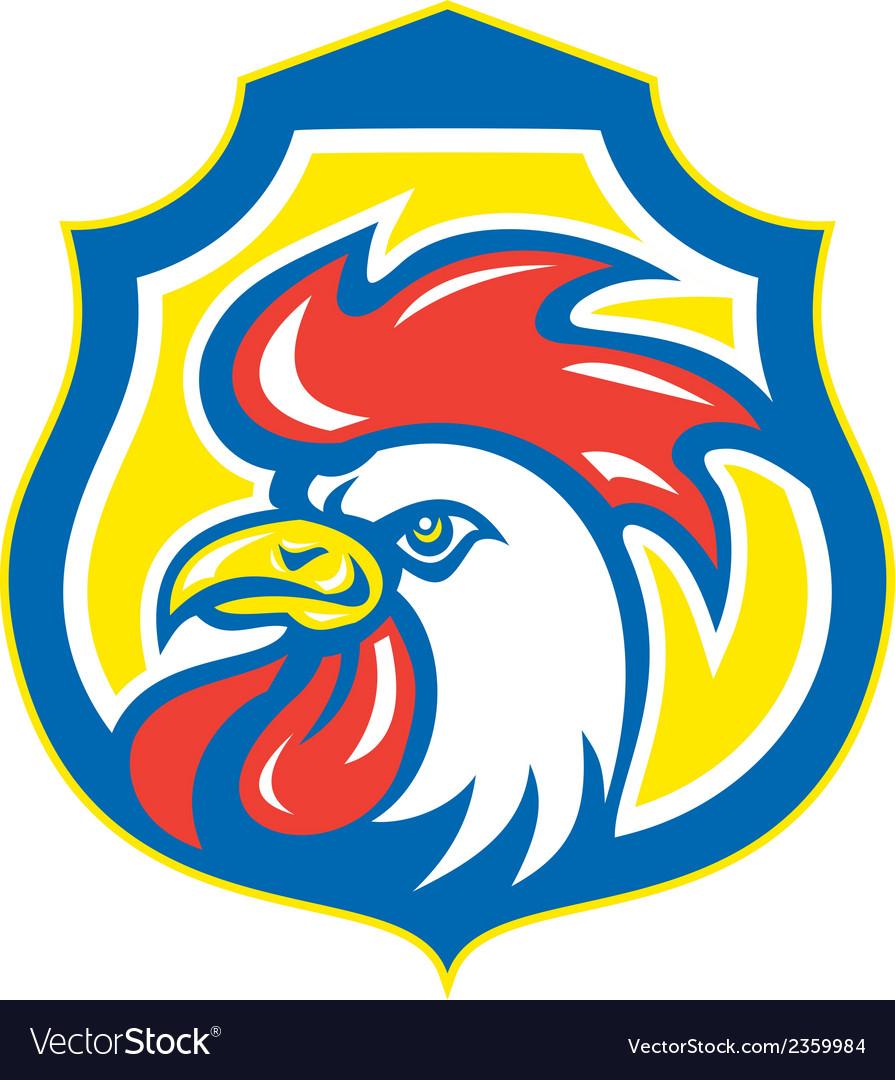 Chicken rooster head mascot shield retro vector | Price: 1 Credit (USD $1)