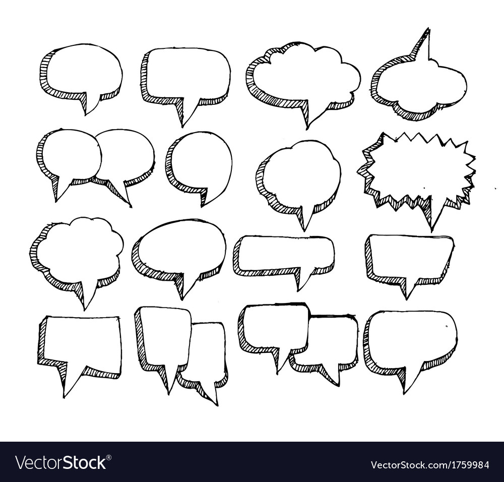 Collection of hand drawn bubble speech vector | Price: 1 Credit (USD $1)