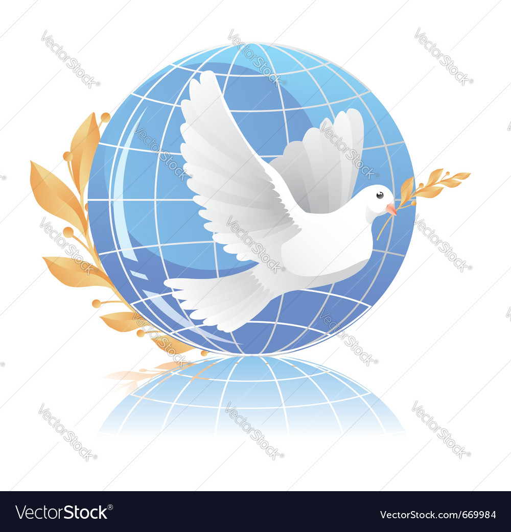 Dove of peace near globe vector | Price: 1 Credit (USD $1)