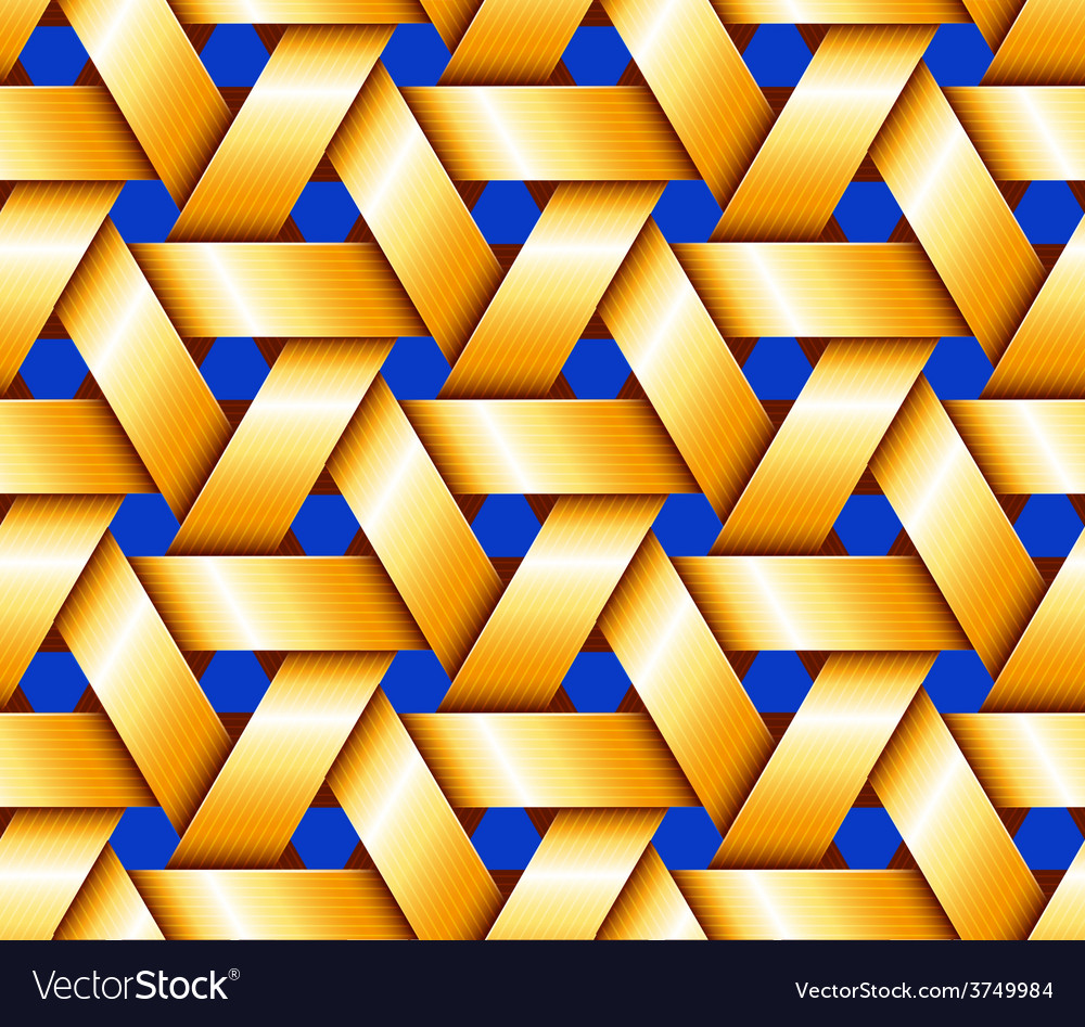 Golden hexagonal basketwork vector