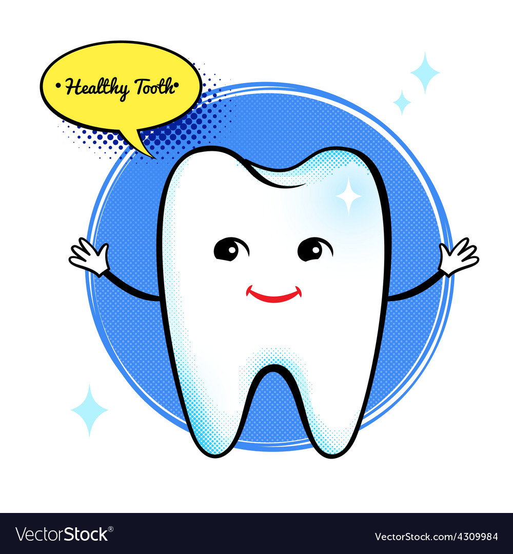 Healthy tooth character vector | Price: 1 Credit (USD $1)