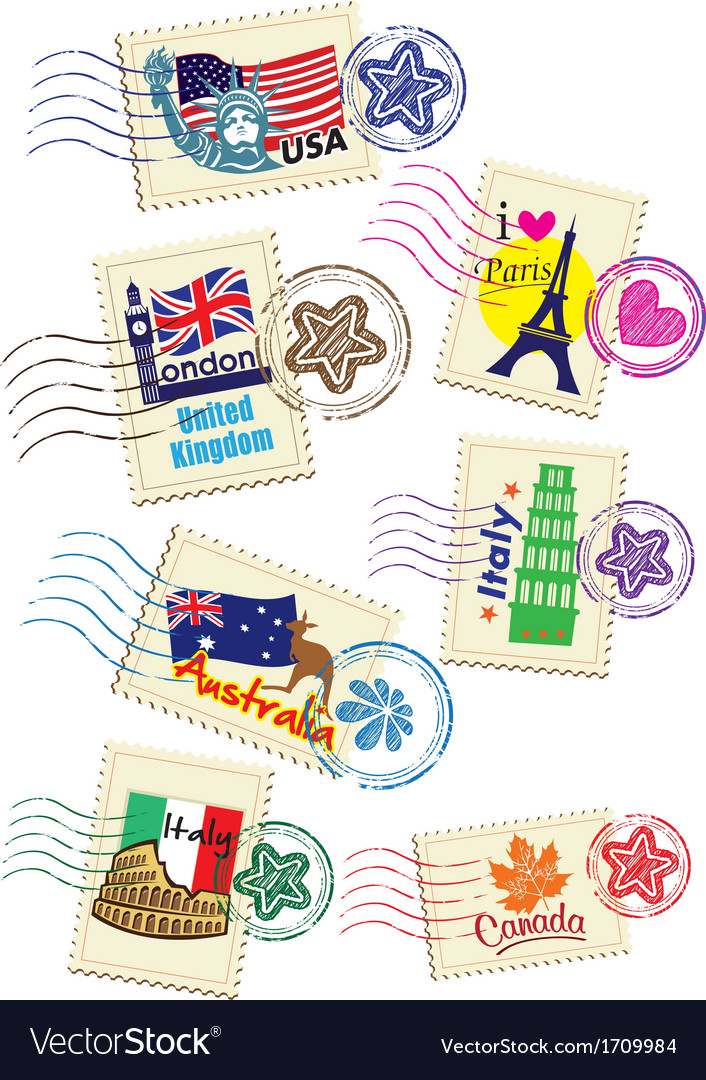 International stamps vector | Price: 1 Credit (USD $1)