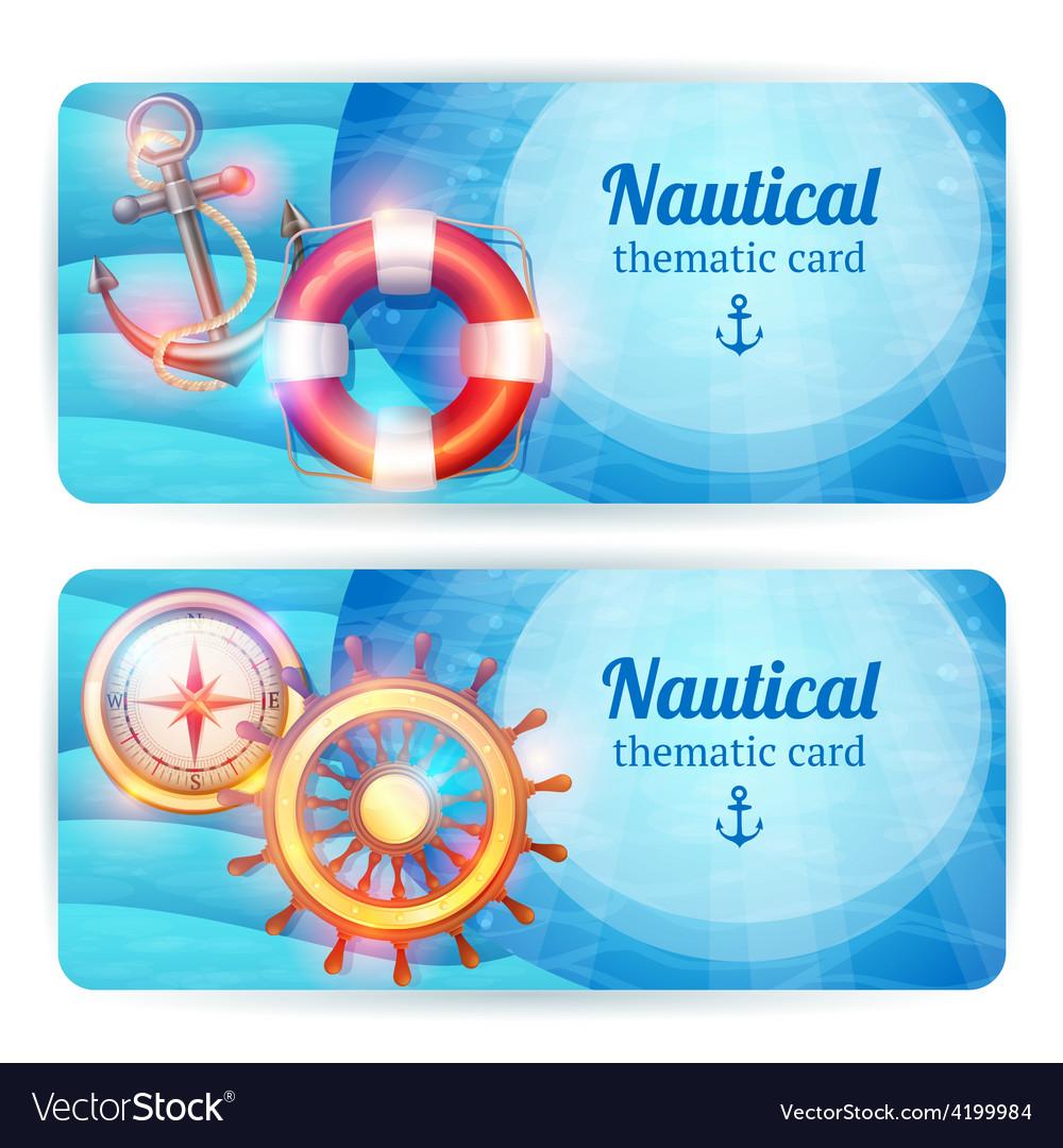 Marine horizontal banners set vector   Price: 1 Credit (USD $1)