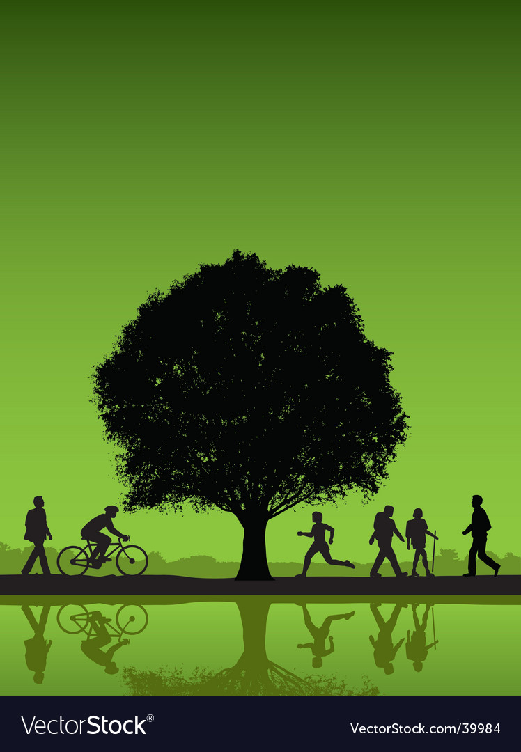 People under a tree background vector | Price: 1 Credit (USD $1)