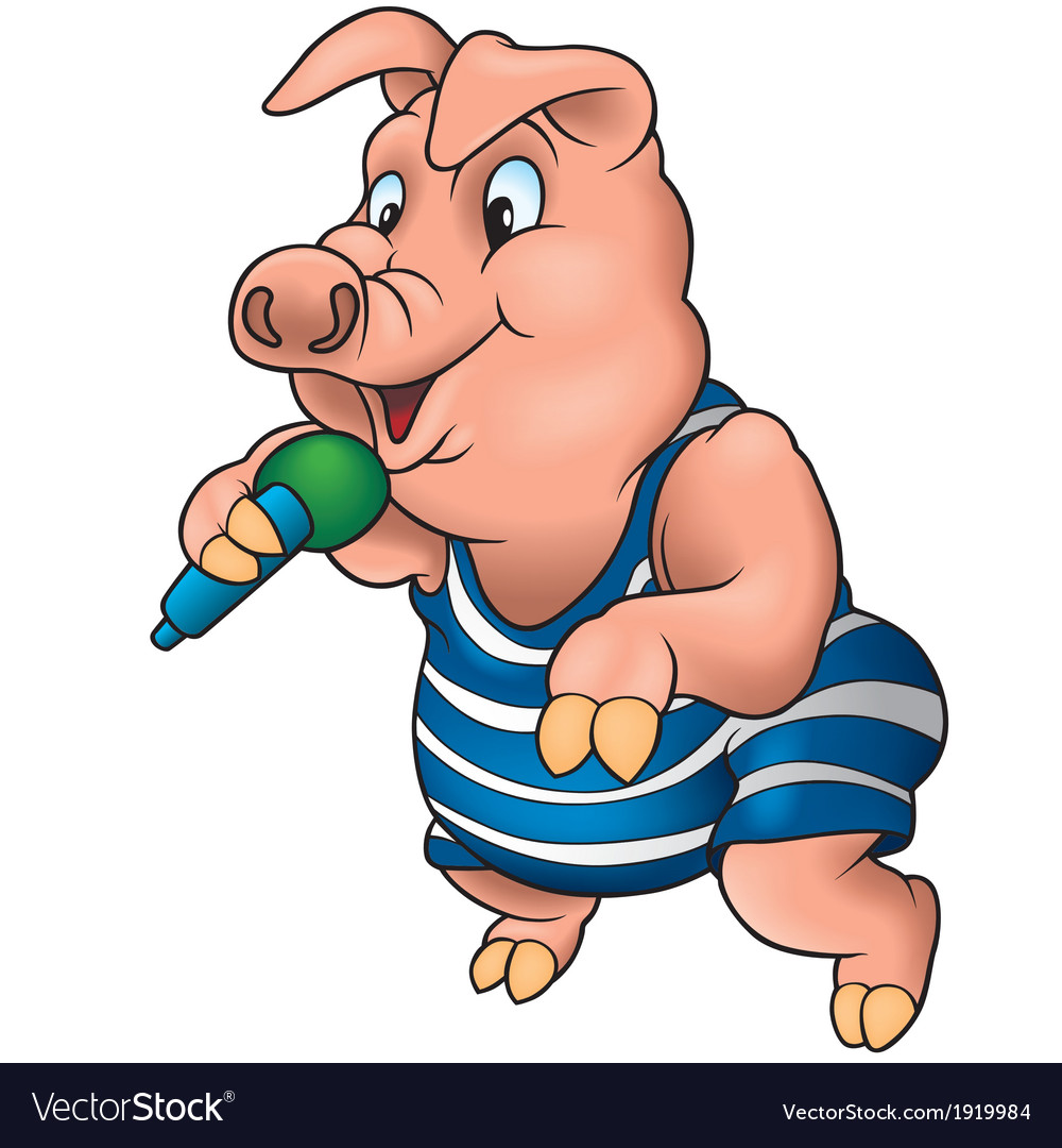 Pig with microphone vector | Price: 1 Credit (USD $1)