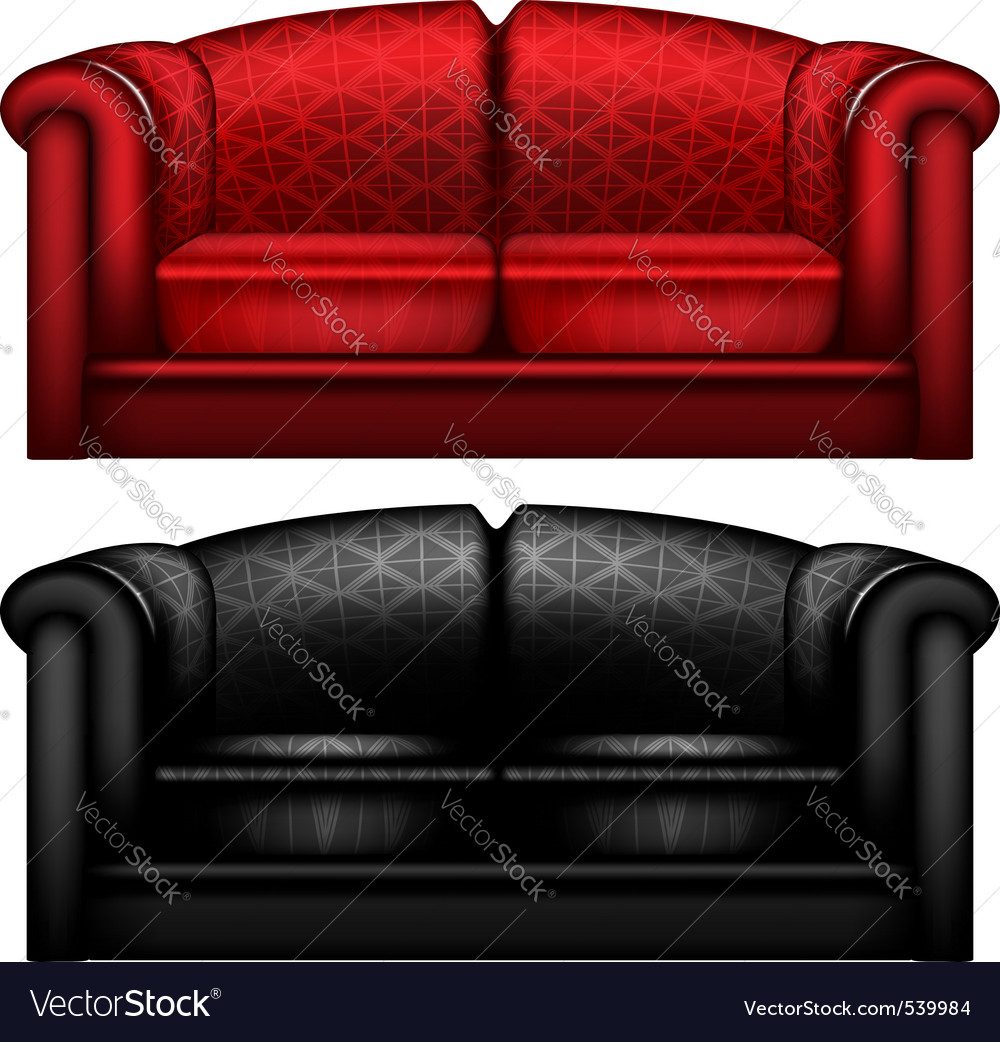 Red and black leather sofa vector | Price: 1 Credit (USD $1)