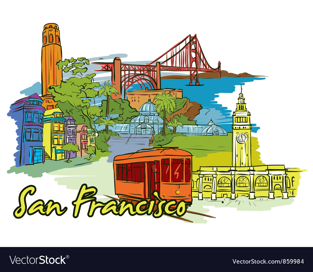 San francisco doodles vector | Price: 1 Credit (USD $1)
