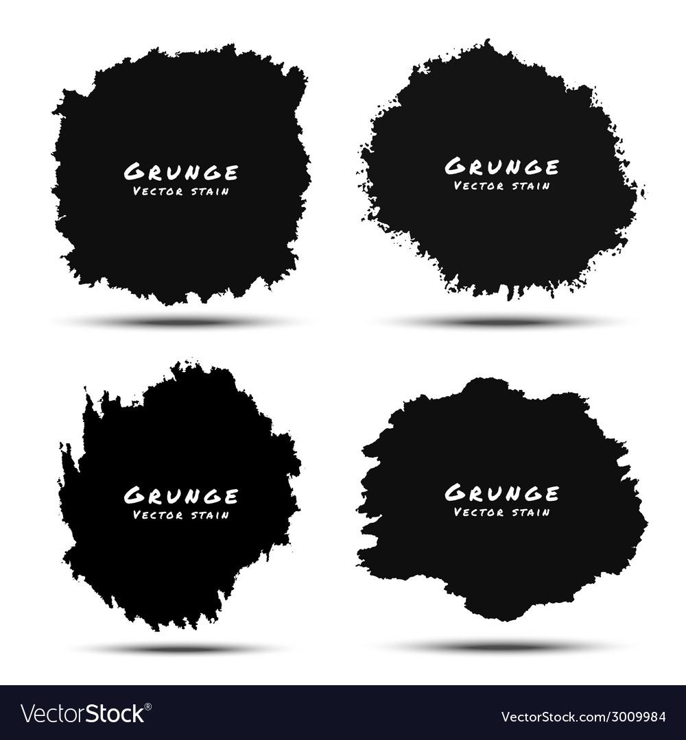 Set of black watercolor grunge splatters vector | Price: 1 Credit (USD $1)