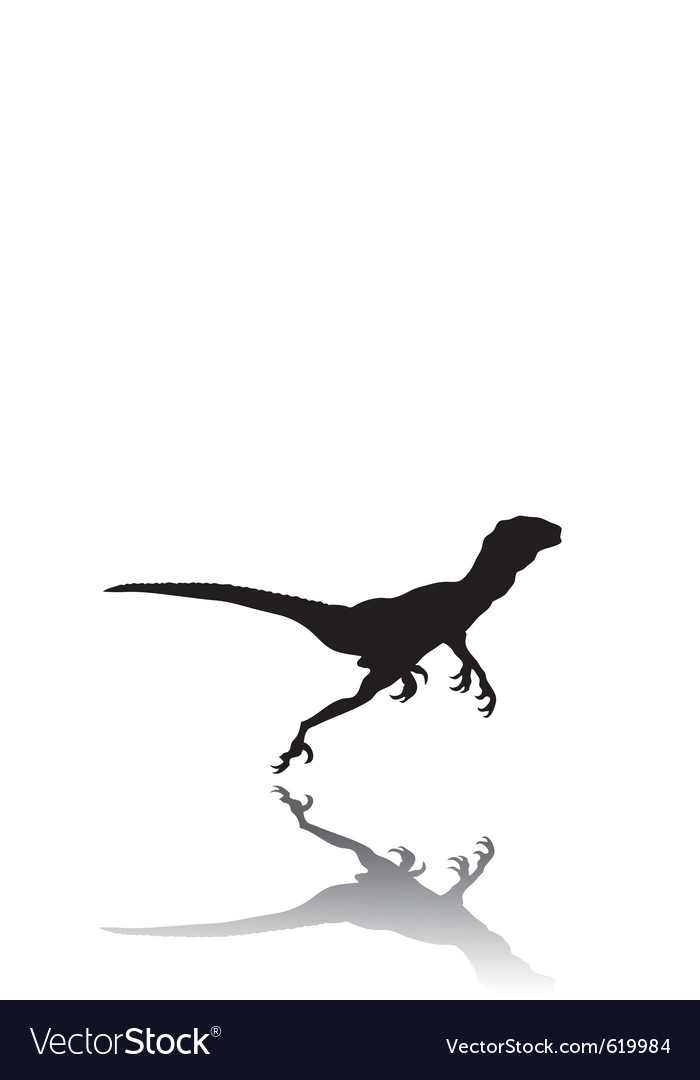 Silhouette of a running dinosaur vector | Price: 1 Credit (USD $1)