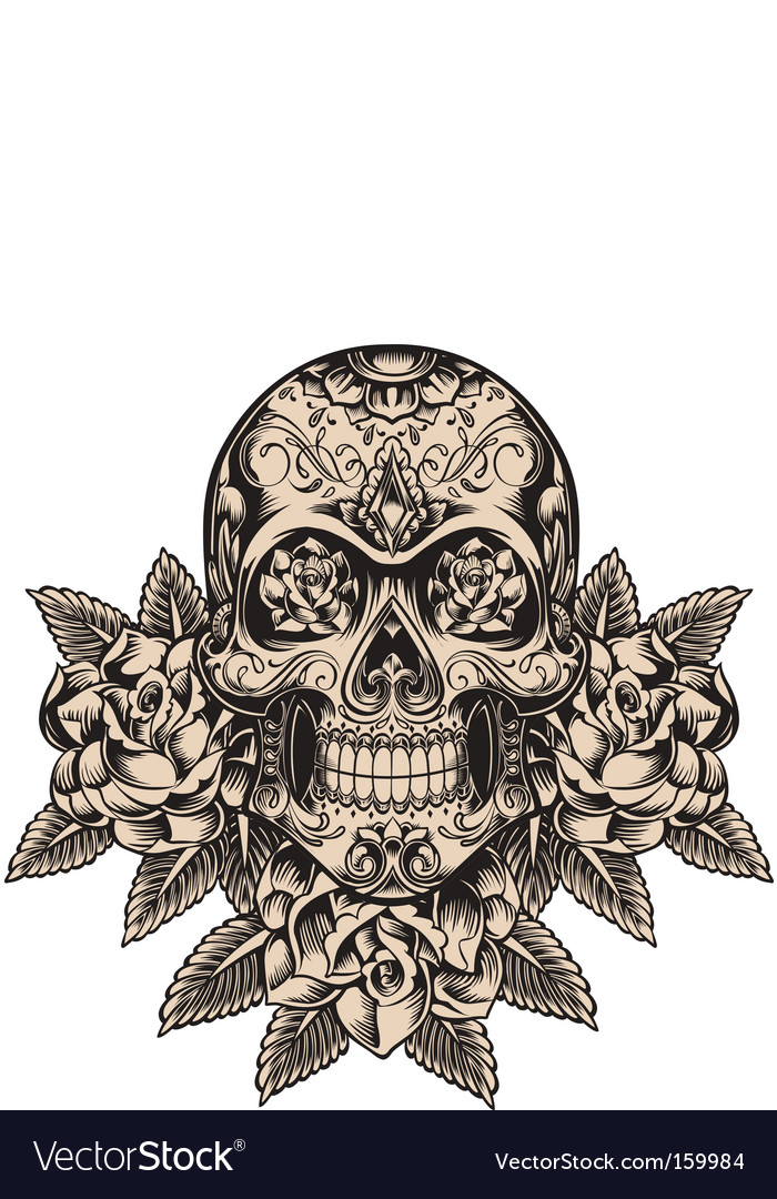 Skull and roses vector | Price: 5 Credit (USD $5)