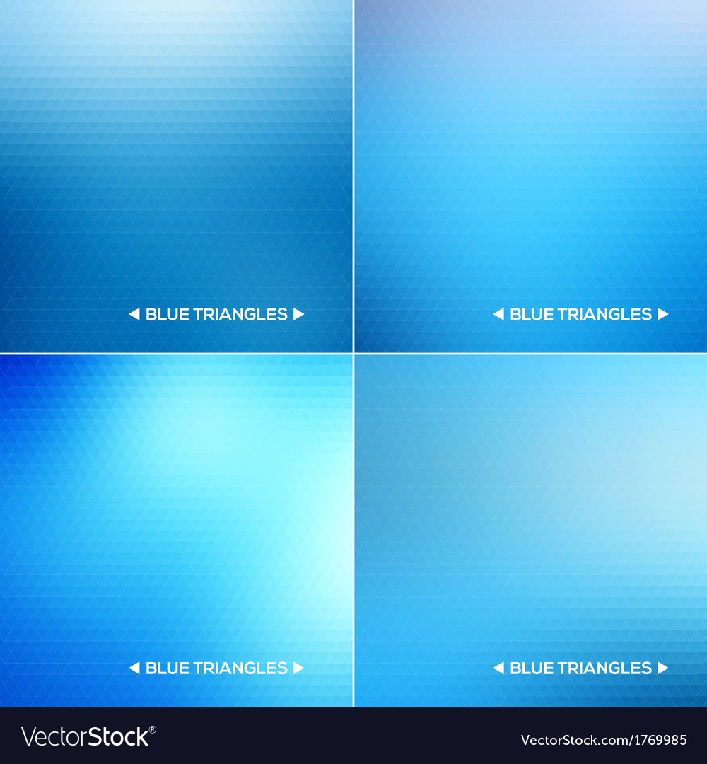 Abstract blue triangle backgrounds set vector | Price: 1 Credit (USD $1)