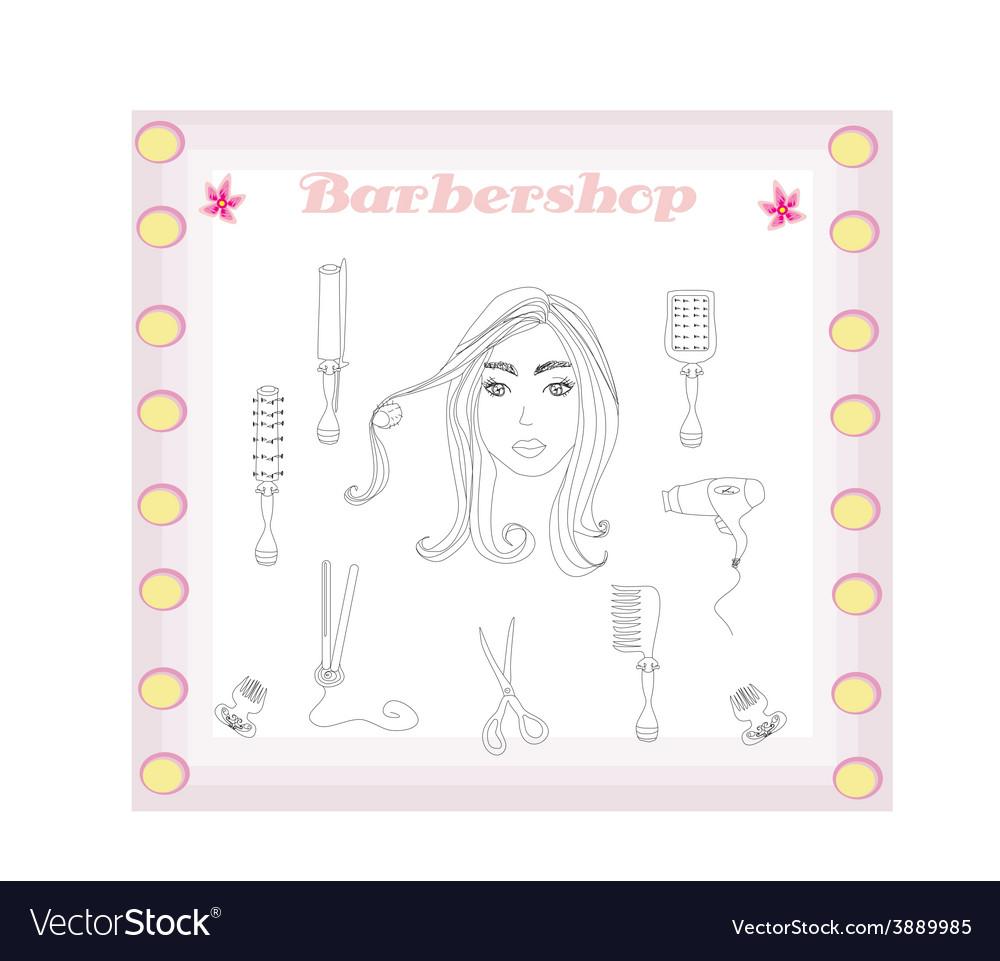 Barber and hairdresser doodle set vector   Price: 1 Credit (USD $1)