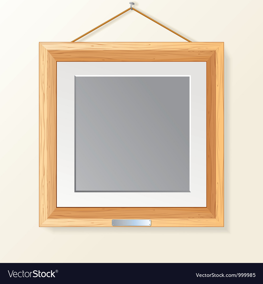 Blank wooden photo frame on the wall vector | Price: 1 Credit (USD $1)