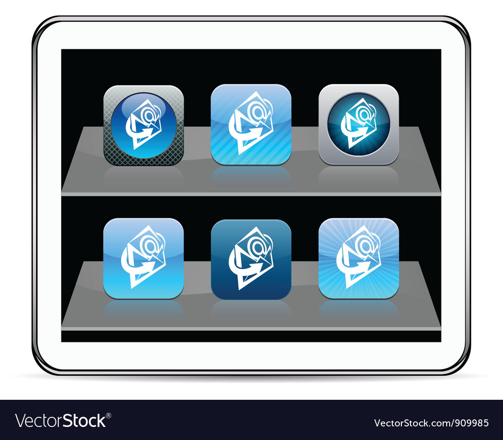 E-mail blue app icons vector | Price: 1 Credit (USD $1)