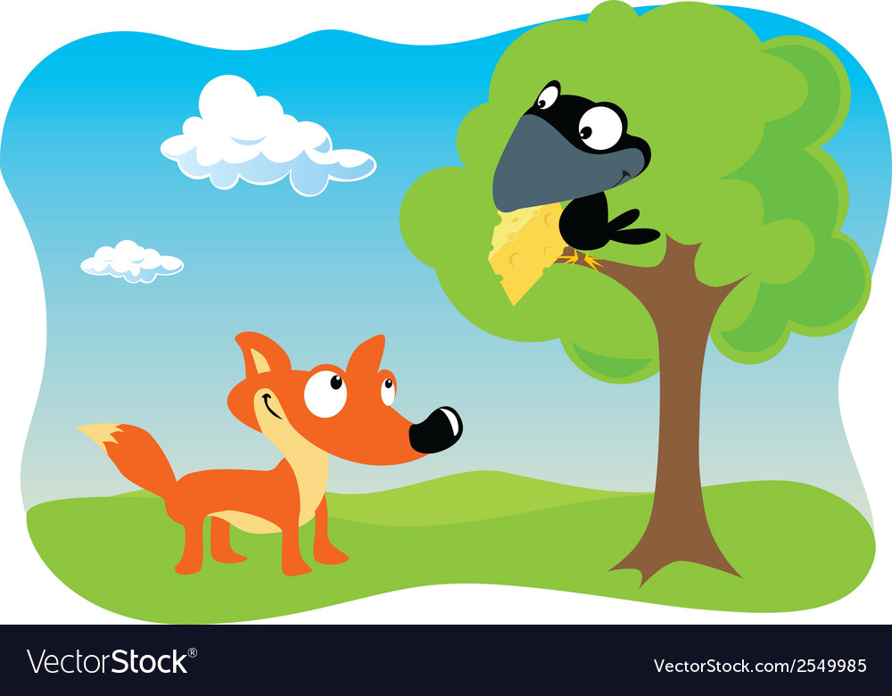 Fox and the raven vector | Price: 1 Credit (USD $1)