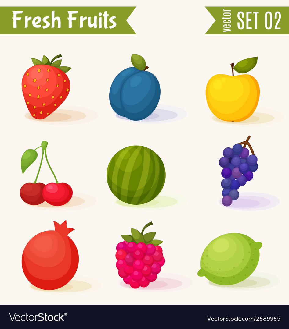 Fruits icon set colorful template for cooking vector | Price: 1 Credit (USD $1)