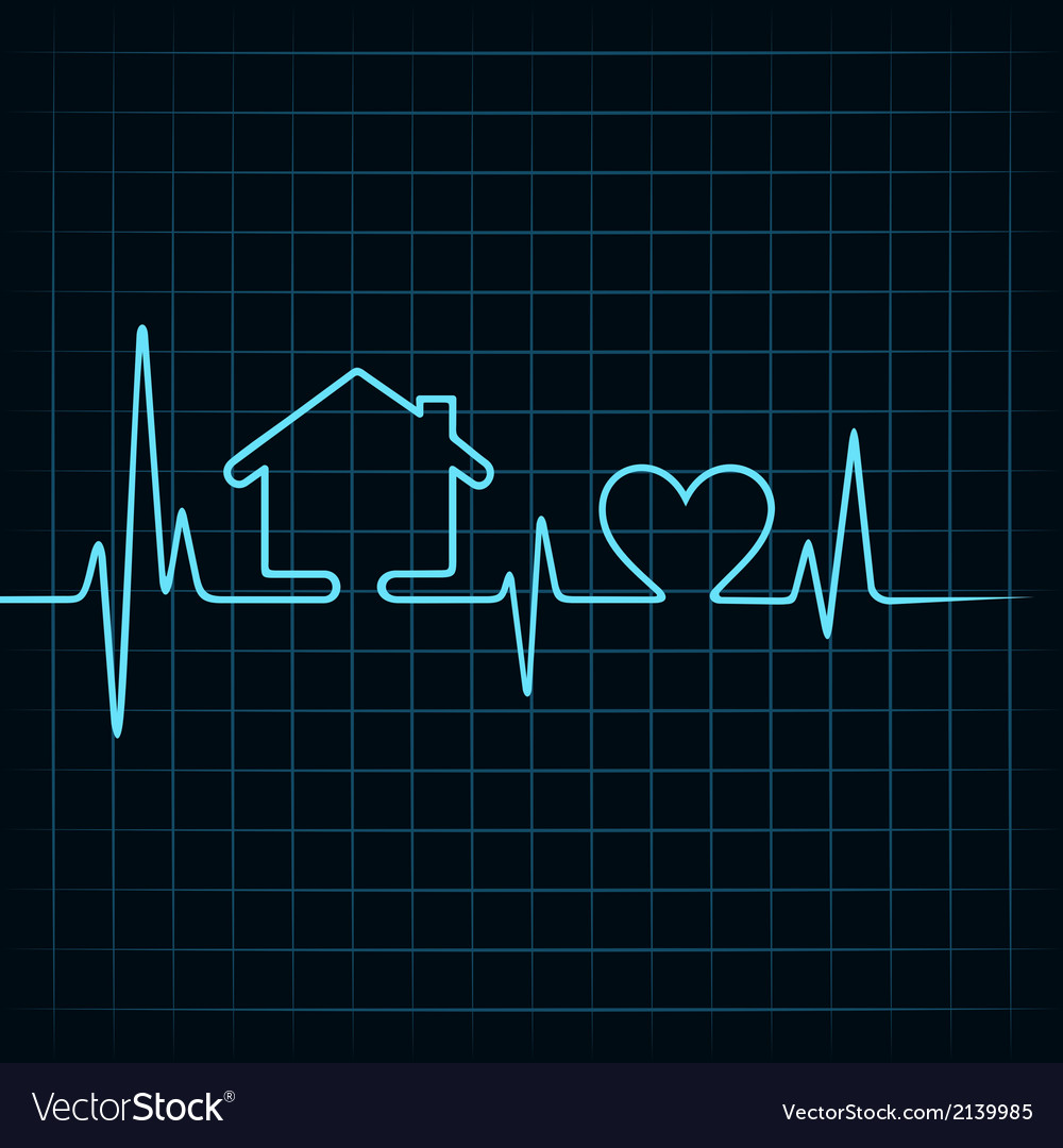 Heartbeat make a home and heart icon vector | Price: 1 Credit (USD $1)