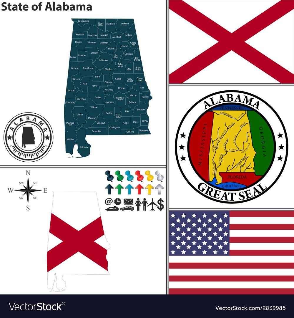 Map of alabama with seal vector | Price: 1 Credit (USD $1)