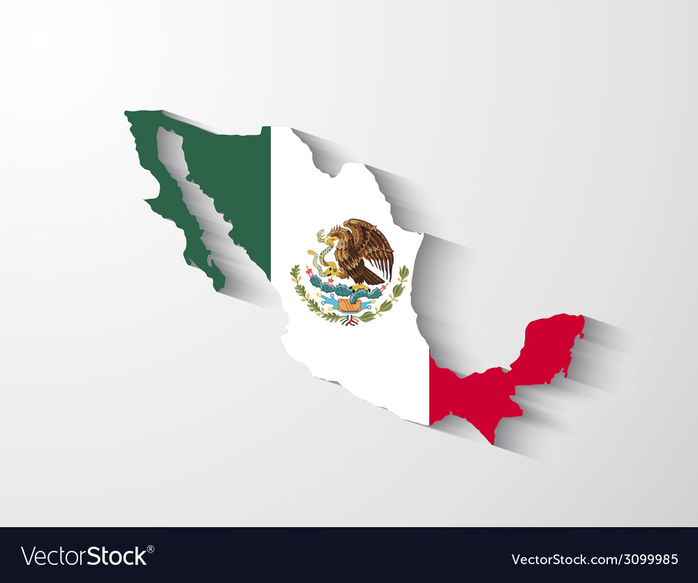 Mexico map with shadow effect vector | Price: 1 Credit (USD $1)