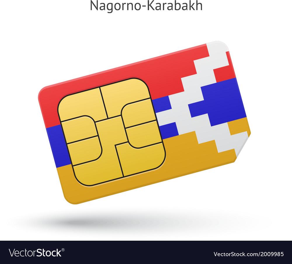 Nagorno-karabakh mobile phone sim card with flag vector | Price: 1 Credit (USD $1)