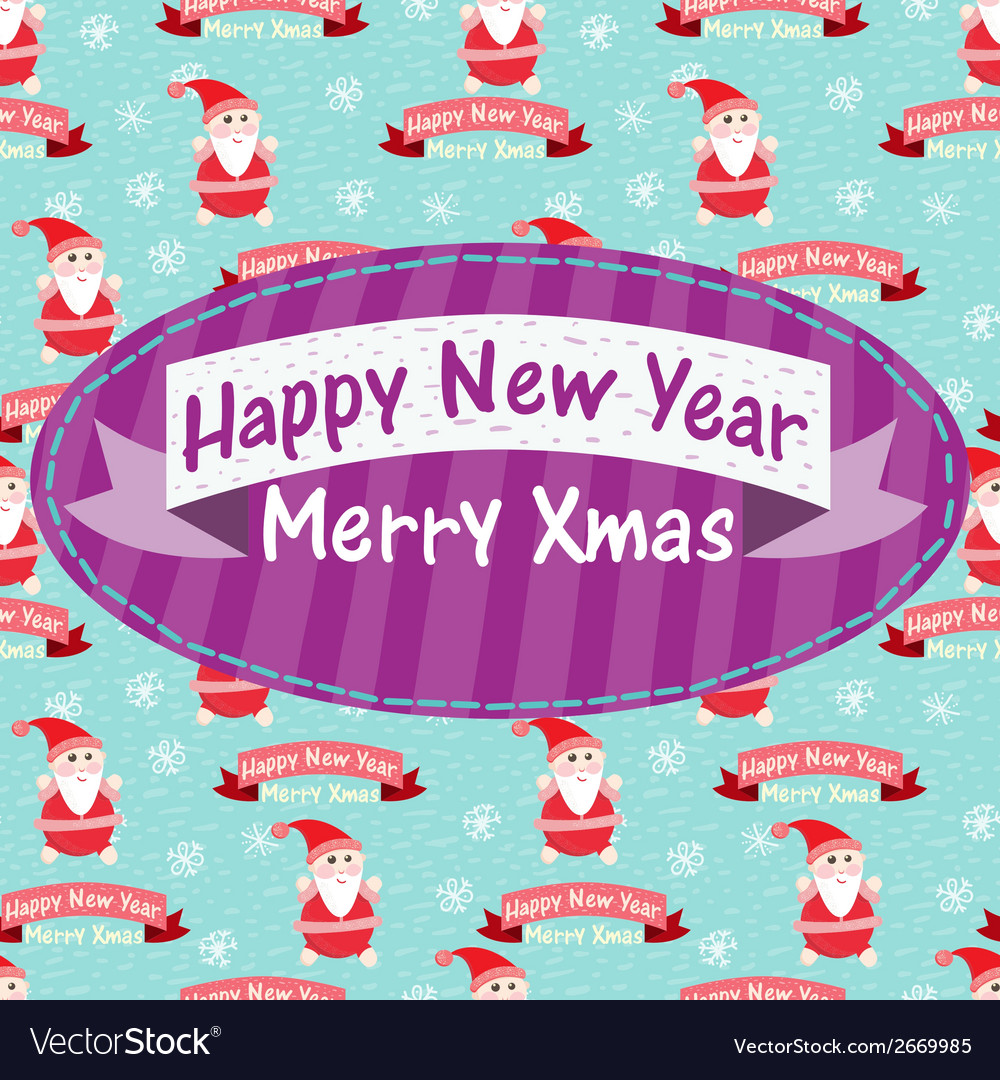 New year and christmas greeting card with santa vector | Price: 1 Credit (USD $1)