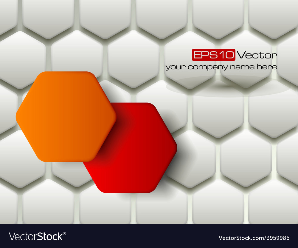 Red and orange hexagons technology background vector