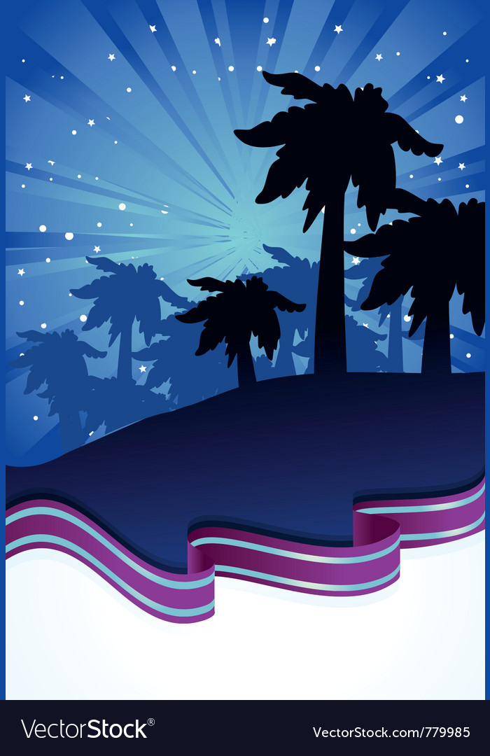 Summer night with palm trees vector | Price: 1 Credit (USD $1)