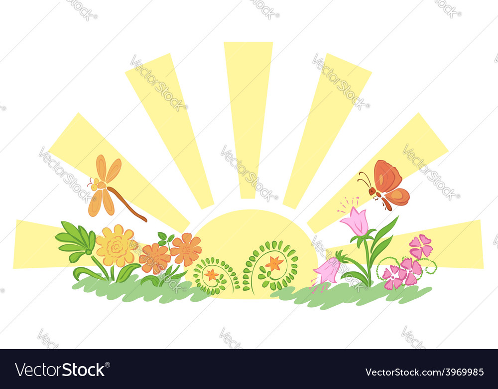 Sun with flora and fauna vector | Price: 1 Credit (USD $1)