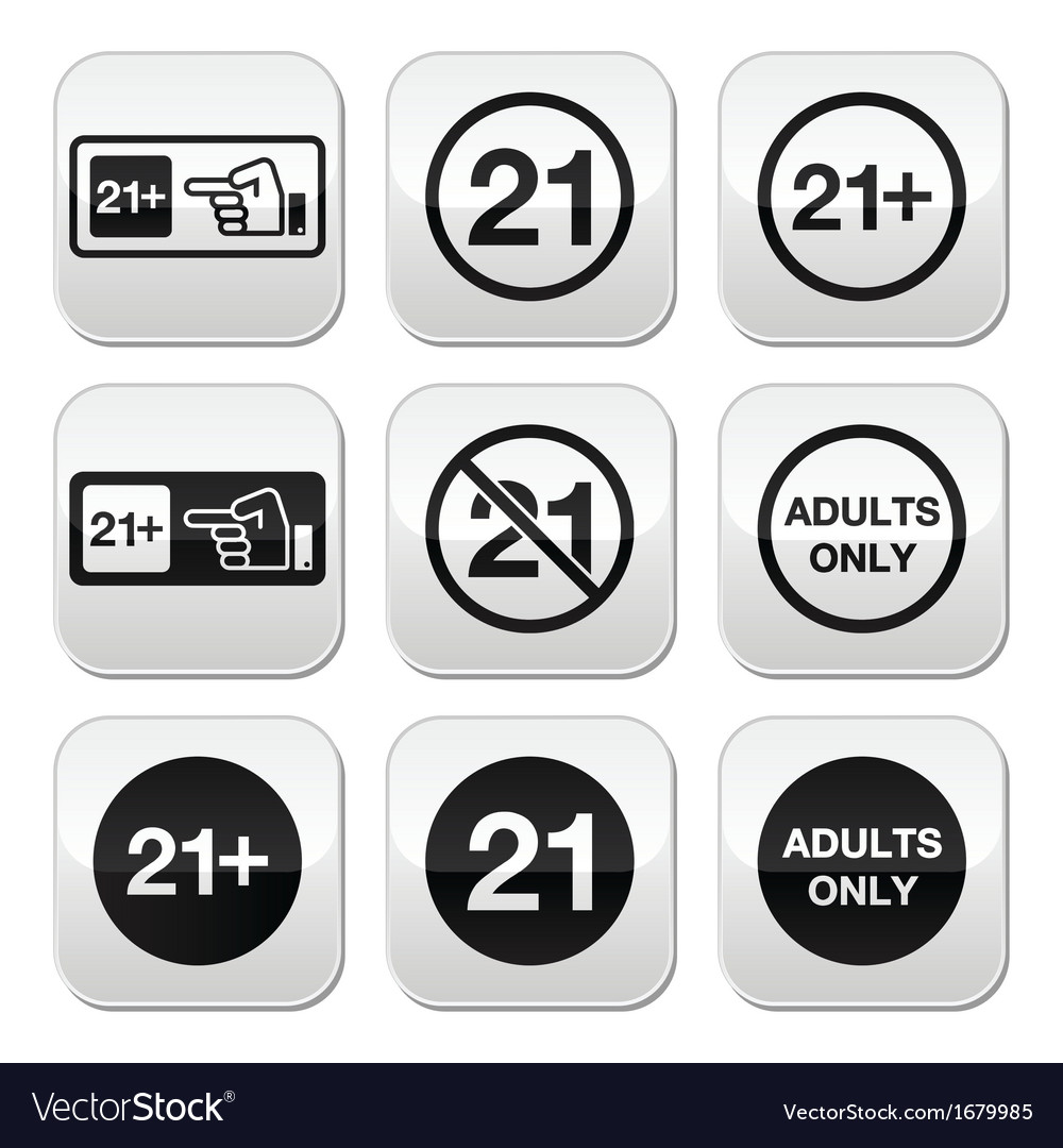 Under 21 adults only warning sign buttons vector | Price: 1 Credit (USD $1)