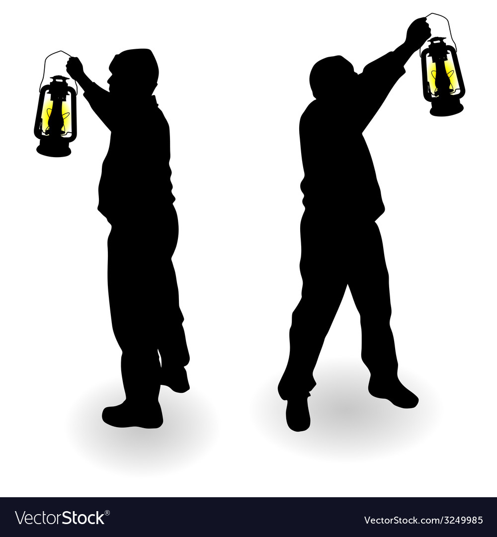 Working man with lantern in hand black silhouette vector | Price: 1 Credit (USD $1)