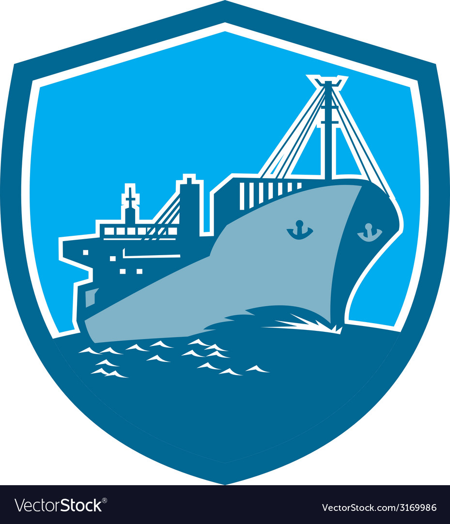Container ship cargo boat shield retro vector | Price: 1 Credit (USD $1)